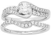 14k White Gold 3/4 Carat T.W. IGL Certified Diamond Swirl Engagement Ring Set