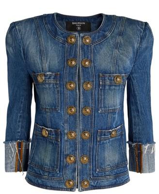 Balmain Collarless Denim Jacket