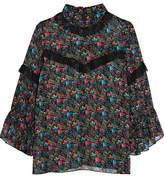 Anna Sui Lace-trimmed Floral-print Silk-chiffon Blouse - Black