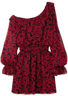 Saint Laurent One-shoulder Ruffled Floral-print Silk-chiffon Mini Dress
