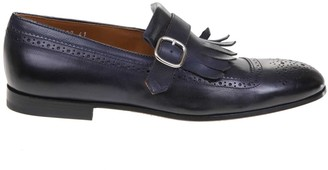 Doucal's Doucals Moccasin In Leather With Buckle Color Dark Blue