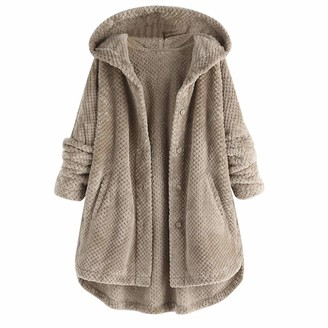 Kitipeng Women Button Up Fluffy Hoodie Coats Solid Color Loose Fit Soft Winter Outwear Skinfriendly Keeping Warm Jackets Casual Daily Clothing White Gray Plus Size 12-26