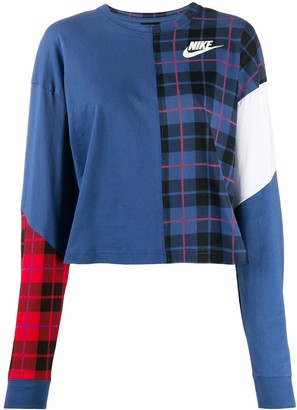 Nike NSW plaid logo sweatshirt