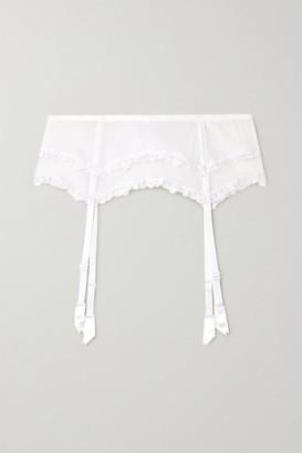 La Perla Miss Sunshine Embroidered Stretch-jersey And Tulle Suspender Belt - White