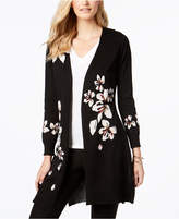 NY Collection Floral-Print Open-Front Cardigan