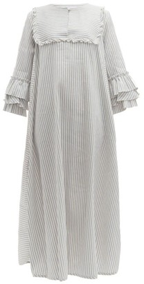Luisa Beccaria Ruffled Striped Linen-blend Midi Dress - Womens - Blue Stripe