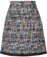 Moschino Grosgrain-trimmed Bouclé-tweed Mini Skirt - Black