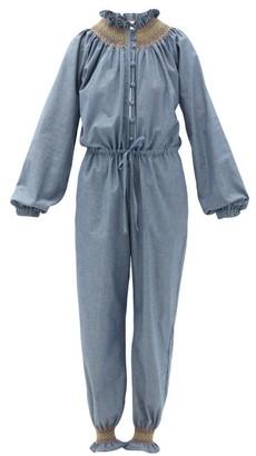 Loretta Caponi Cristina Smocked Cotton-chambray Jumpsuit - Blue