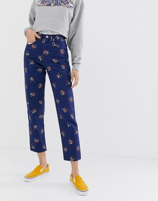 Wrangler high rise mom jean in floral print-Blue