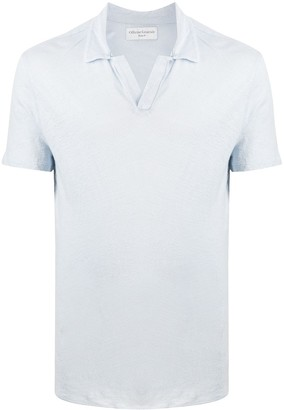 Officine Generale Linen Spread Collar Polo Shirt
