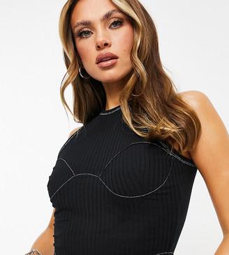 Missy Empire Missyempire Exclusive contrast stitch corset top in black