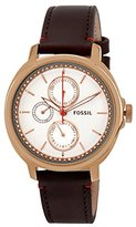 Fossil Women's ES3594 Chelsey Multifunction Stainless Steel Watch With Brown Leather Band