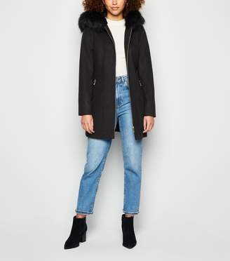New Look Faux Fur Hood Zip Up Coat