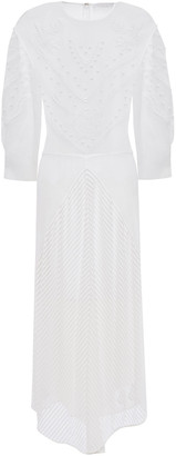 Chloé Asymmetric Embroidered Mesh-paneled Jersey Midi Dress