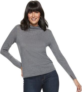 Nine West Women's Wool-Blend Mockneck Long Sleeve Knit Top