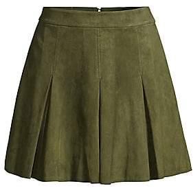 Alice + Olivia Women's Lee Suede Box Pleat Mini A-Line Skirt - Size 0
