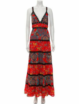 Alice + Olivia Printed Long Dress Red