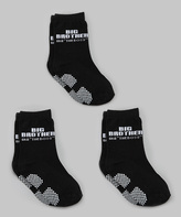Silly Souls Black 'Big Brother' Socks Set - Toddler