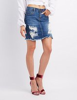 Charlotte Russe Machine Jeans Destroyed Denim Skirt
