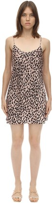 Luna Di Seta Leopard Print Silk Slip Dress