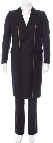Alexander McQueen Panama Wool Zipper-Detail Coat
