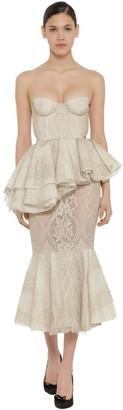 Brock Collection Lace Corset Ruffled Cotton Midi Dress
