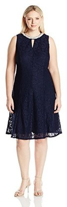 London Times Women's Plus Size Sleeveless Halter Lace Fit & Flare Dress Navy/Nude 22W