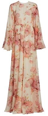 Giambattista Valli Floral Silk Flutter Cape Gown
