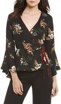 June & Hudson Floral Printed Bell Sleeve Wrap Top