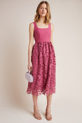 Maeve Virginia Textured Midi Dress By in Pink Size 14
