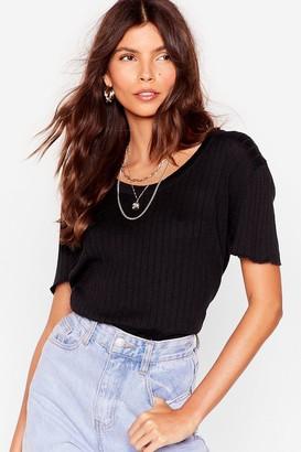 Nasty Gal Womens Knit's Kinda Cute Ribbed Tee - Black