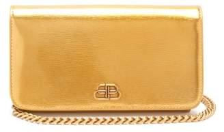 Balenciaga Bb-logo Mini Metallic-leather Cross-body Bag - Womens - Gold