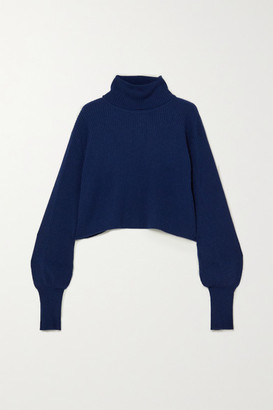 Reformation Luisa Cropped Ribbed Cashmere And Wool-blend Turtleneck Sweater - Navy