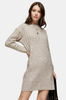 Topshop Womens Taupe Plaited Crew Neck Knitted Dress - Taupe