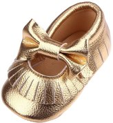 Footful Baby Soft Soled Leather Moccasin with Trendy Tassel & Bow First Walking Shoes