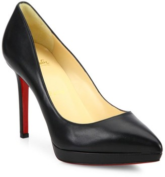 Christian Louboutin Pigalle Plato 100 Platform Leather Pumps