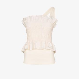 Johanna Ortiz Good Flow one shoulder shirred top