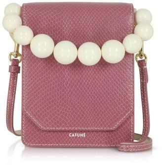 Cafune Mauve Leather Bellows Crossbody Bag
