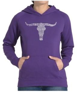 LA Pop Art Women's Word Art Hooded Sweatshirt -Names Of Legendary Outlaws