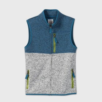 Cat & Jack Boys' Knit Fleece Zip Vest - Cat & JackTM Teal/Gray