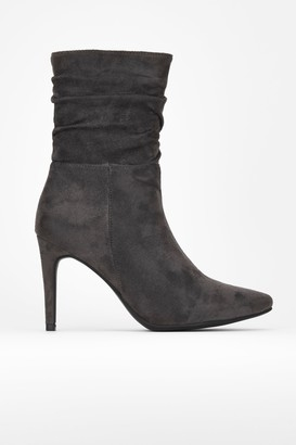 Wallis Grey Ruched Calf Ankle Boot