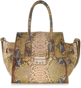 Ghibli Python Leather Tote w/Shoulder Strap