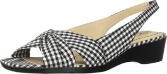 LifeStride Women's Mimosa 2 Flat Sandal Black/White 8.5 W US