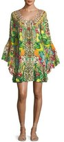 Camilla Scoop-Neck A-Line Printed Frill Mini Dress
