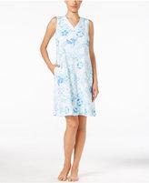Miss Elaine Sleeveless Floral-Print Sleeveless Nightgown