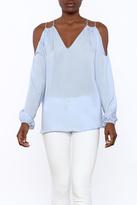 Do & Be Sheer Blue Cold Shoulder Top