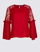M&S Collection PLUS Lace Insert Flute Sleeve Blouse