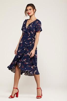 Yumi Daisy Print Wrap Dress