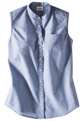 Mossimo Juniors Sleeveless Chambray Shirt - Assorted Colors