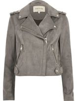 River Island Womens Light grey faux suede scuba biker jacket
